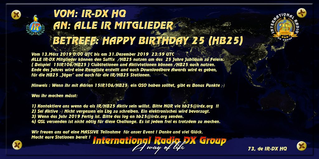 Invitation for celebrating 25 Years of IR-DX Group in 2019
